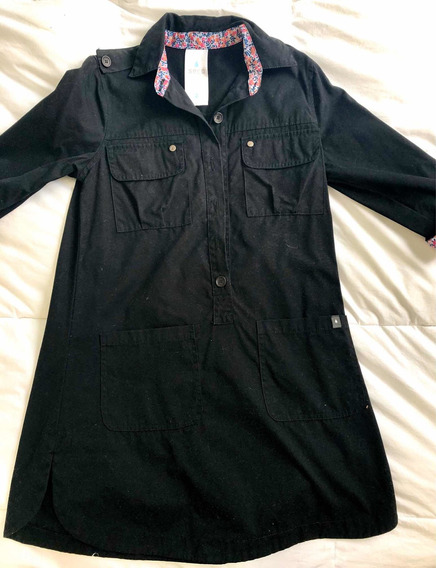 Vestido Tipo Camisero Negro Marca Seco