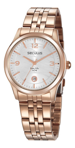Oferta Relógio Seculus Feminino Rosê Gold Aço Prova D'água