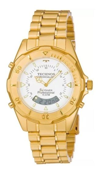Relógio De Pulso Masculino Dourado Skydiver Technos Top