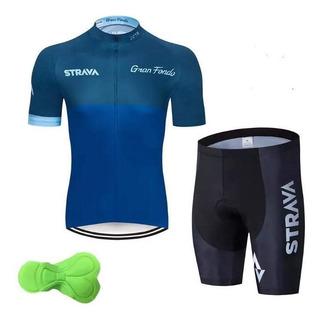 Cj Ciclismo Strava Azul (camisa + Bermuda) Xxl