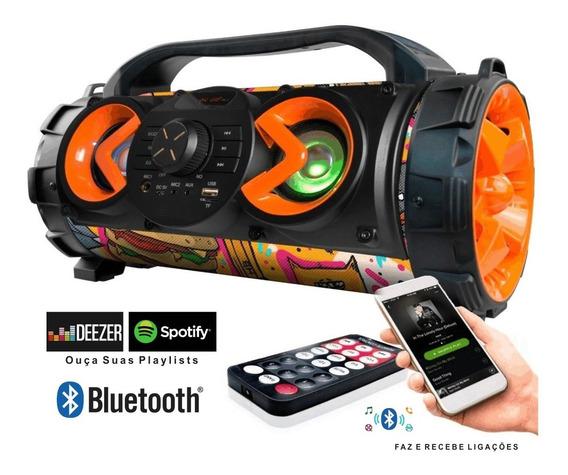 Caixa De Som Amplificada Bluetooth Fm Usb Microfone 100w Rms