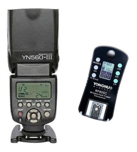 Kit Yongnuo Flash Yn-560iii + Radio Rf605c Para Canon