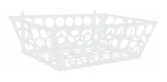 Lixeira De Rua Modelo Retangular 60cm De Parede Branca