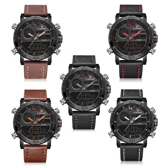 Relógio Masculino Esportivo Militar Aço Inox Couro Naviforce