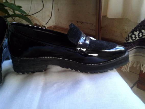 Zapato Mocasín Cuero Y Charol