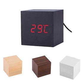 Relógio Digital Retrô Design Tipo Madeira Com Alarme Mesa