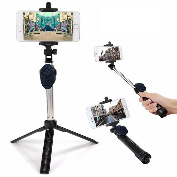 Pau De Selfie Monopod Tripe Bastão Retrátil Para Celulares