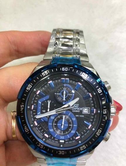 Relógio Hx004b Casio Edifice Ef539b Preto Pulseira Aço Azu