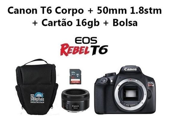 Câmera Canon T6 Corpo+50mm 1.8 Stm+16gb Classe+10+bolsa