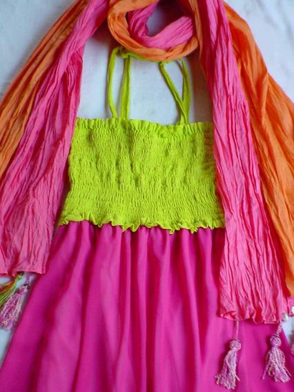 Vestido Solero Pollera Muy Colorido Y Veraniego!