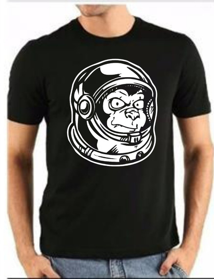 Camiseta Macaco Astronauta Casual 100% Algodão Silk Screen