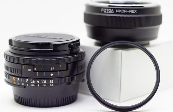 Nikon Serie E-50mm 1.8 + Adaptador Nikon/nex+filtro