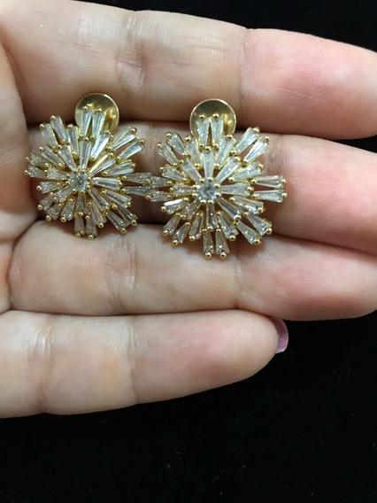 Brinco Em Ouro 18k Com Pedras De Zircônia