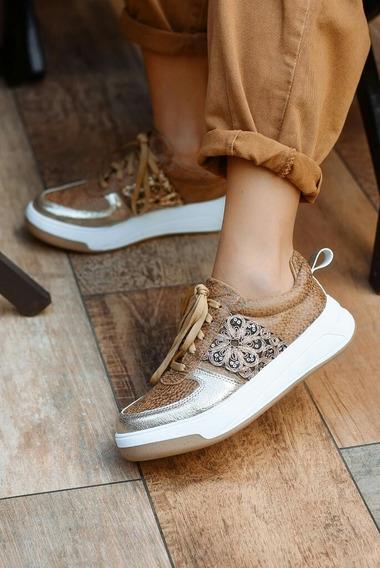 Zapatillas Mujer Dama Suela Marrón Con Galón Doradas