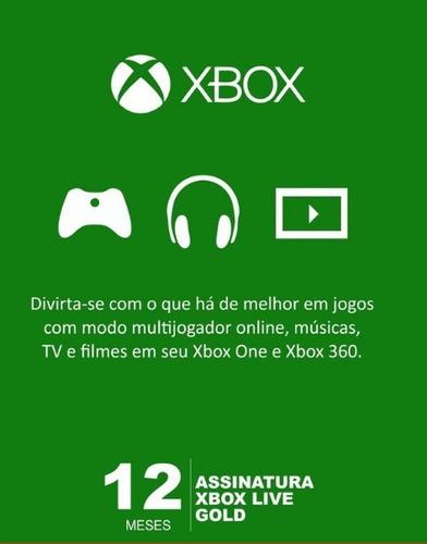 Imagem 1 de 1 de Xbox Live Gold 12 Meses Código Digital Oficial Brasil