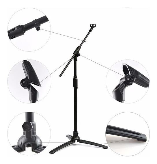 Suporte,pedestal,apoio Microfone C/ Base Em Alumínio-híbrido