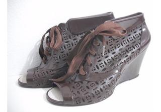 Sapato Anabela Plastico Tipo Melissa Marca Bali 35 Marrom