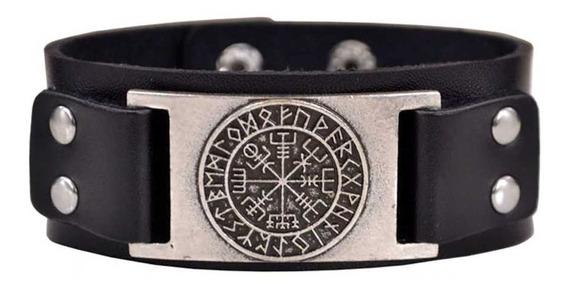 Bracelete Couro Vikings Pulseira Runas Viking Tribal Retro