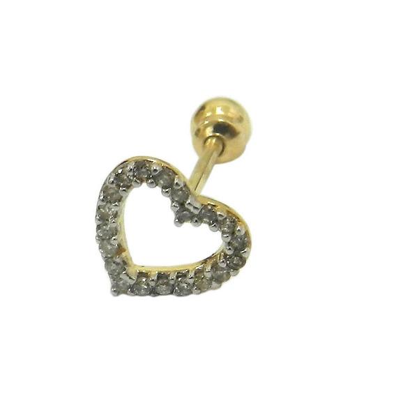 Piercing De Cartilagem Em Ouro 18k Coração Vazado Com Bri...
