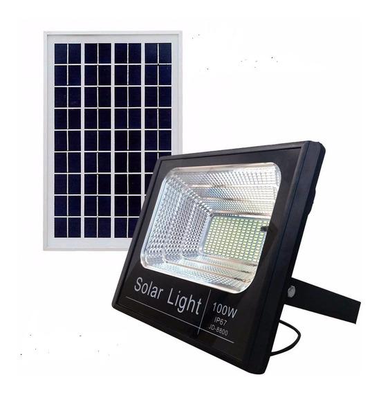 Kit 4 Refletor Led 100w Placa Solar Empresas Galpao Poste