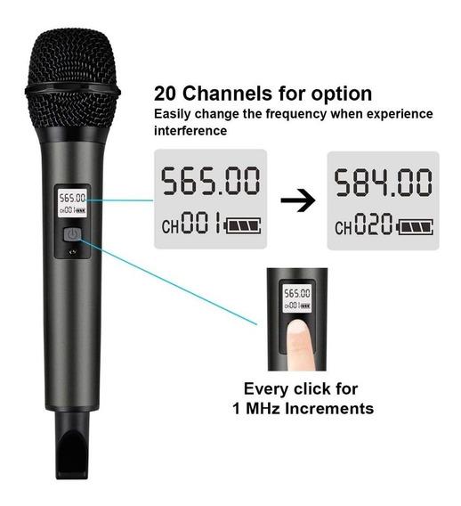 Microfone S/ Fio E Receptor Portátil 1/4 ,canais Uhf Fifine