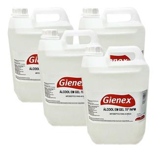 Caixa Com 4 Bombonas Álcool Gel Antisséptico70% Gienex 4,5kg