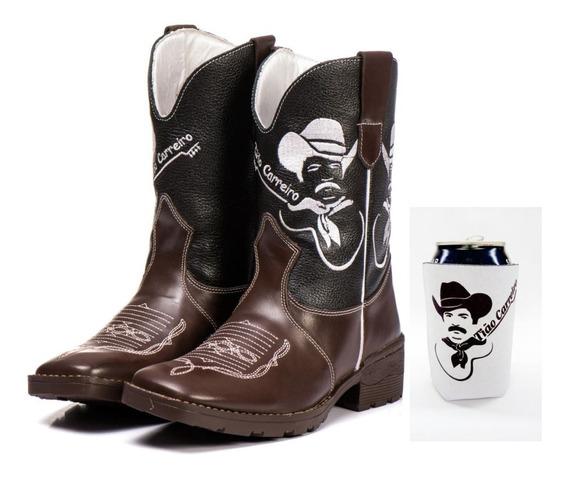 Bota Country Texana Masculina Bico Quadrado+brinde Porta Lat
