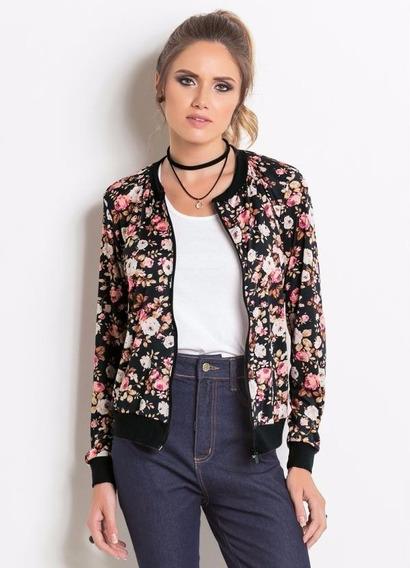 Lançamento 2019 Jaqueta Bomber Feminina Flores Rosas Moda