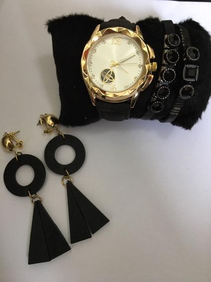 Kit Relógio Ck Pulseira De Couro +pulseira + Brinco Feminino