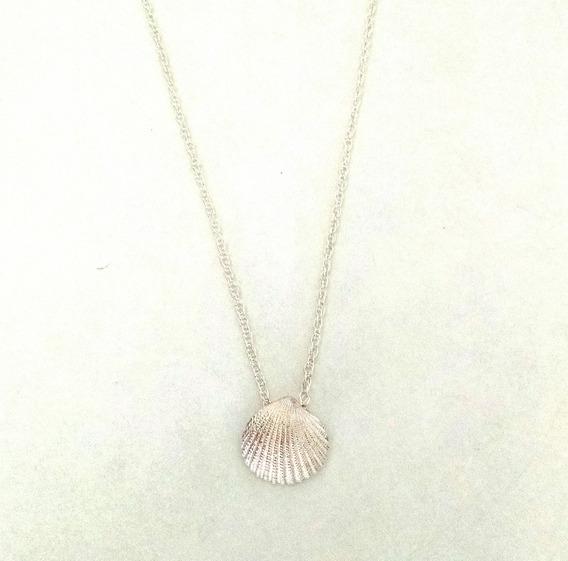 Collar Con Concha De 46cm De Plata Sólida .925 (sterling)