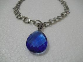 Max Colar Com Pingente Pedra Azul + Pulsera Bracelete Azul
