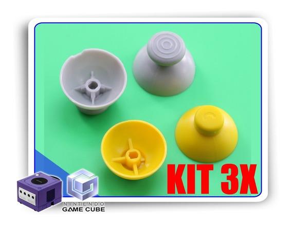 Kit 3x Reparos Caps Cinza E Amarelo Controle Gamecube