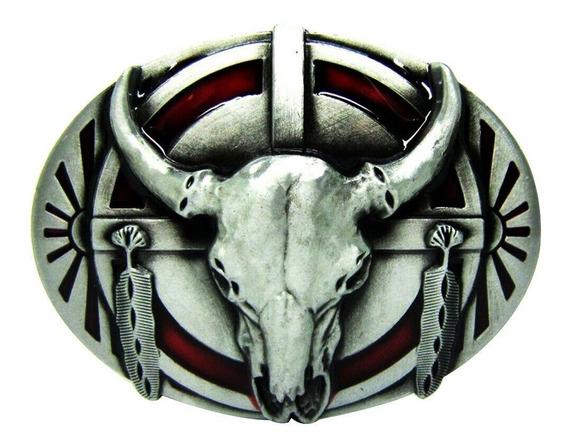 Fivela De Cinto Cowboy Country Caveira Touro Top Lançamento