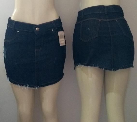Kit 5 Saias Jeans Com Zíper E Botão Frontal Cintura Alta