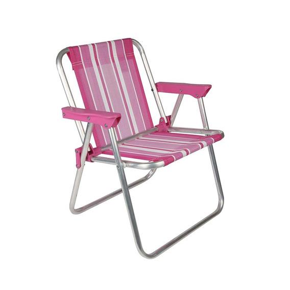 Cadeira De Praia Infantil Aluminio Rosa Azul Mor