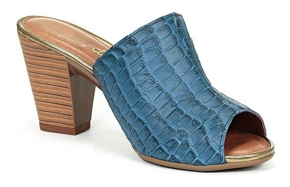 Tamanco Croco Azul Dakota Conforto Sapatos Femininos