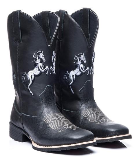 Bota Texana Masculino Em Couro Legitimo 2 Cavalos Black