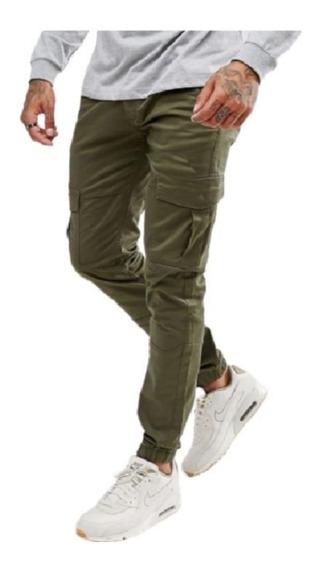 Pantalon Jean Con Puño Bolsillo Jogger Hombre Talle 38 Al 48