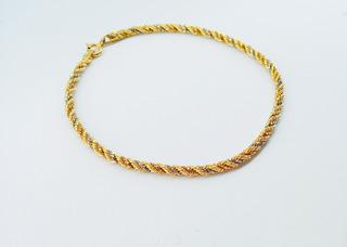 Pulseira De Ouro 750 18k Cordão Baiano Três Cores