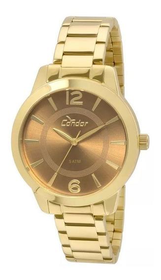 Relógio Feminino Condor Original Aço Quartzo Dourado C/ N F