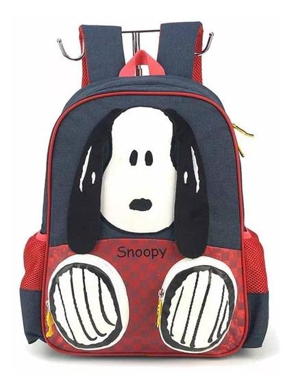 Mochila Infantil Snoopy 3d Escolar Unissex Luxcel - Original