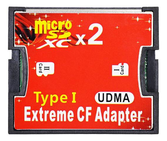 Adaptador / Cartão De Memória Compact Flash Cf Dual Micro Sd