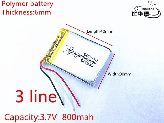 (5 Pcs) Bateria 3,7v Com 800mah 3 Fios Gps Carta Regitrada