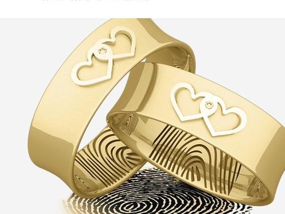 Aliança Casamento Em Ouro 18kilates Com As Digitais Do Casal