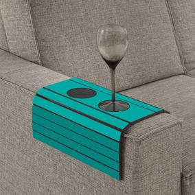 Esteira Para Braço De Sofá Com Porta Copos - Azul