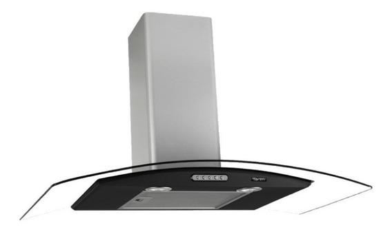 Exaustor Depurador de Cozinha Terim Vidro Curvo aço inoxidável de parede 90cm x 5cm x 45cm inox/preto 110V
