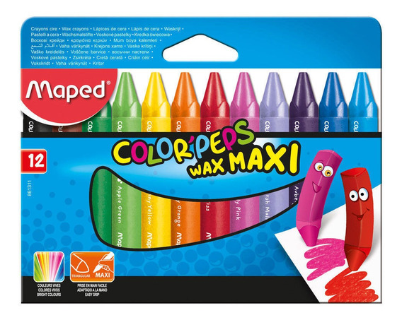 Maxi Lápices De Cera 12 Colores Maped