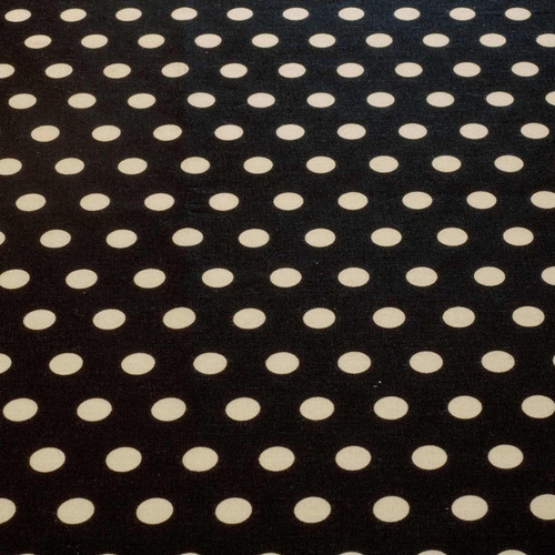 Tecido Tricoline Poa Bola Branca 1,40 M Largura Fundo Preto