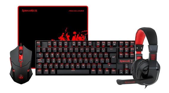 Kit Gamer Redragon Mouse Padmouse Teclado Diadema K552-bb