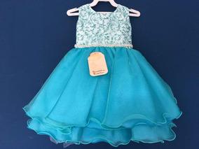 Vestido Festa Infantil Daminha Luxo Organza Estampada 3 Anos